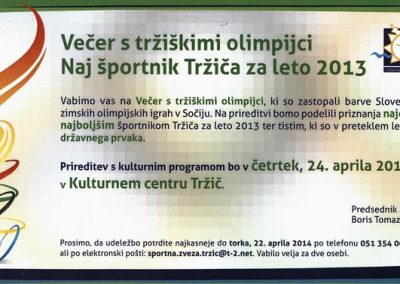 Športna zveza Tržič, 2014, Večer s tržiškimi olimpijci Naj športnik Tržiča za leto 2013, vabilo 3
