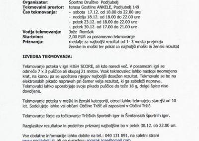 Športno društvo Podljubelj, 2016, vabilo na občinski turnir v pikadu 3