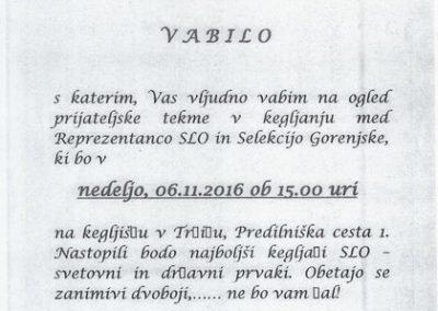 Kegljaški klub Ljubelj, 2016, tekma v kegljanju med Reprezentanco SLO in Selekcijo Gorenjske, vabilo 3