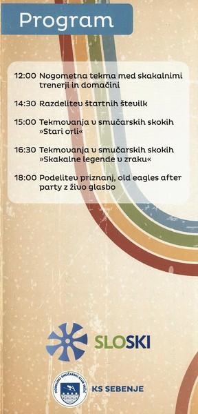 Nordijski smučarski klub Tržič, 2014, Stari orli, Tekmovanje v smučarskih skokih, predstavitvena zloženka s programom 3i