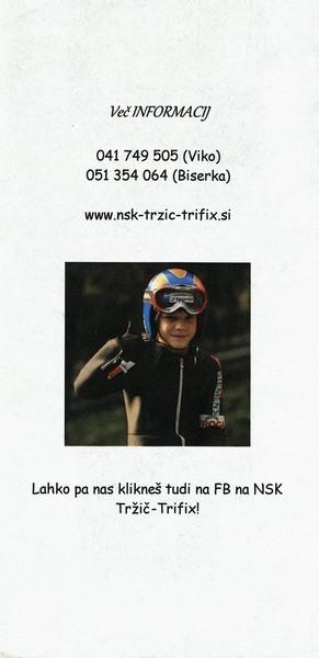 Nordijski smučarski klub, Tržič - Trifix, predstavitvena zloženka 3f