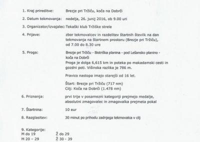Tekaški klub Tržiške strele, 2016, 7. tek do koče na Dobrči, vabilo 3